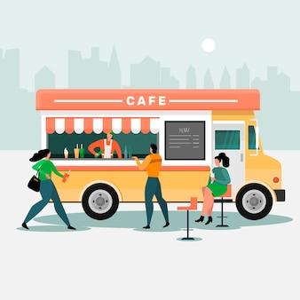 フードトラックのコンセプト。人々は車輪付きのカフェで食事をします。モダンフラット。