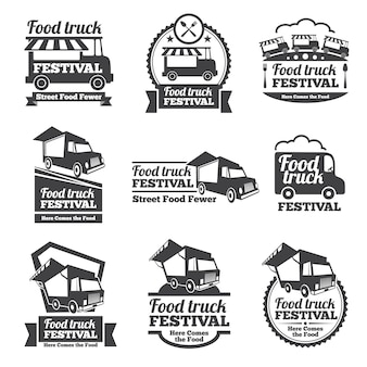 フードトラックフェスティバルのエンブレムとロゴのベクトルセット。フェスティバルストリートフード、バッジフードフェスティバル、エンブレムフードトラックイラスト