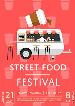 Food truck festival invitation poster in flat style