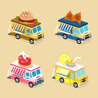 Food truck flat illustration set