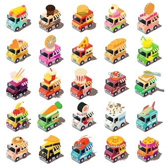 Food truck icons set. isometric illustration of 25 food truck vector icons for web