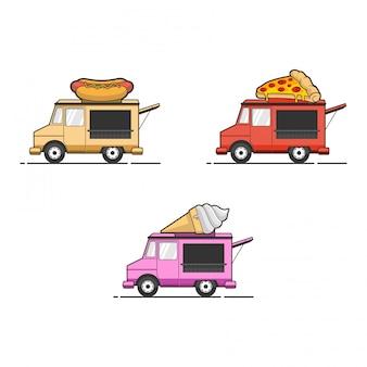 Продовольственная грузовик иллюстрации набор