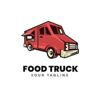 Food truck logo design illustration template