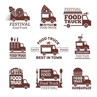 フードトラックのロゴ、ストリートフェスティバルバン高速ケータリング屋外キッチンラベルとバッジモノクロスタイル