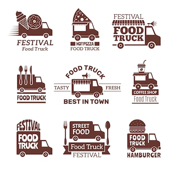 Food truck logo, street festival van fast catering outdoor kitchen labels and badges monochrome style