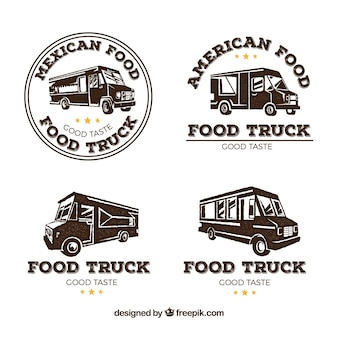 Food truck logos with retro style