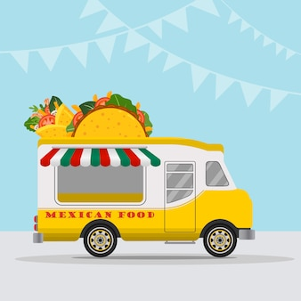 Food truck logotype for mexican food meal fast delivery service or summer food festival.