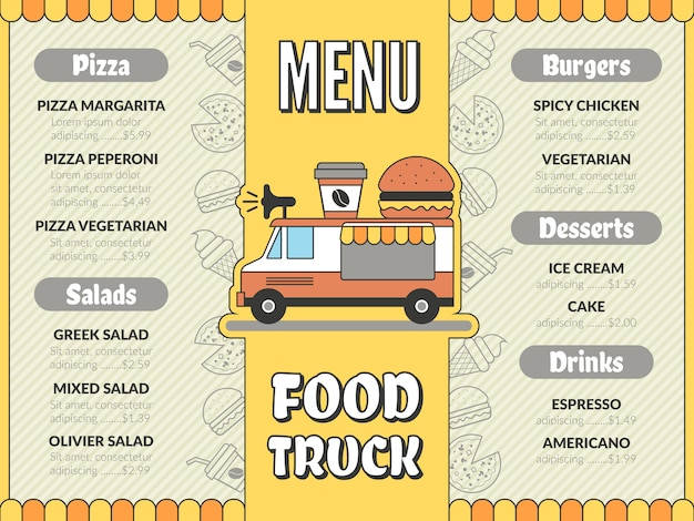 Food truck menu. outdoor kitchen in car mobile van mexican tacos ice cream fast food drinks pizza flyer  template