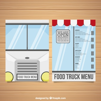 Food truck menu template with windows