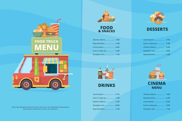 푸드 트럭 메뉴. 도시 패스트 푸드 레스토랑 거리 축제 피자 바베큐 트럭 요리 밴 템플릿. 음료와 음식 그림 카페 트럭 메뉴