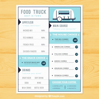 Food truck menu with cute style