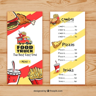 Food truck menu with fast food