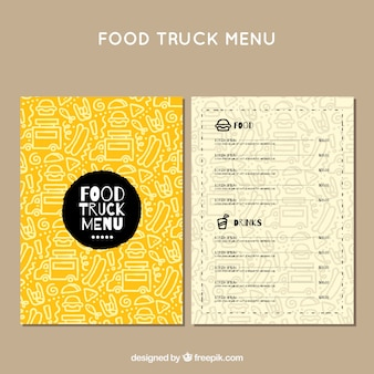 Food truck menu with hand drawn pattern