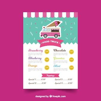 Food truck menu with ice creams