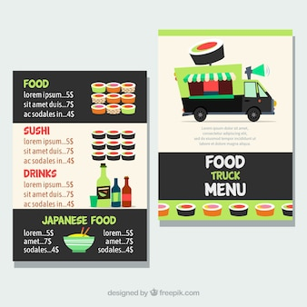 Food truck menu with sushi