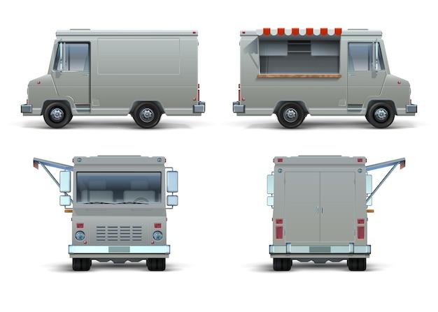 푸드 트럭 모형. 브랜드 아이덴티티를 위한 열린 창문이 있는 현실적인 배달 차량 또는 이동식 주방