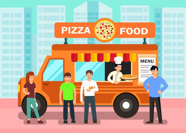 Food truck in modern city vector illustration