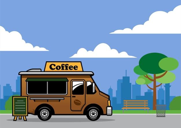 도시 공원에서 커피를 파는 음식 트럭
