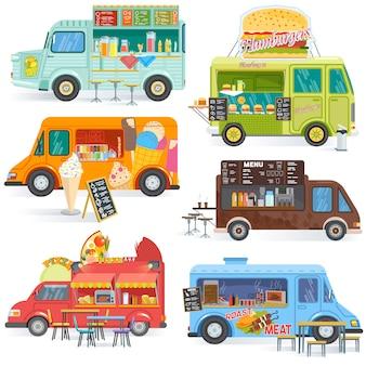 음식 트럭 거리 음식 트럭 차량 및 흰색 배경에 고립 된 foodtruck에 음료 또는 아이스크림의 핫도그 또는 피자 일러스트 세트와 패스트 푸드 배달 운송