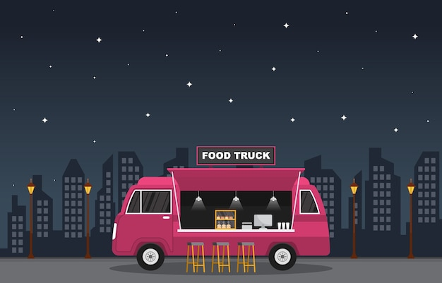 Food truck van car vehicle street shop night illustration