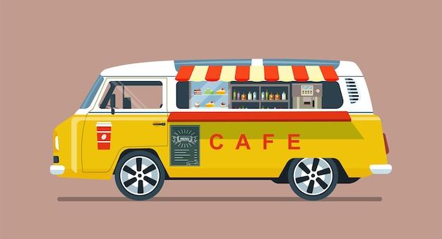 フードトラックバンが分離されました。車輪付きのカフェ。ベクトルイラスト。