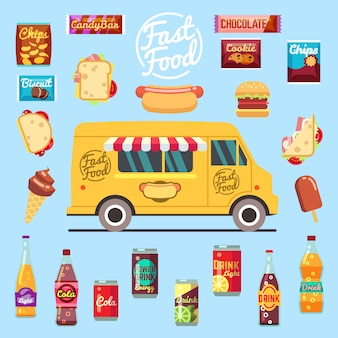Food truck with big set summer meal, fast food snacks, bottle drinks and ice cream.