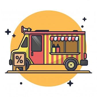 Food truck with discount premium icon illustration