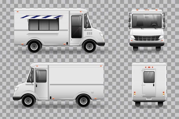 Реалистичная food truck шаблон для автомобильного брендинга и рекламы. все слои и группы хорошо организованы для удобного редактирования. вид сбоку, спереди, сзади, сверху.