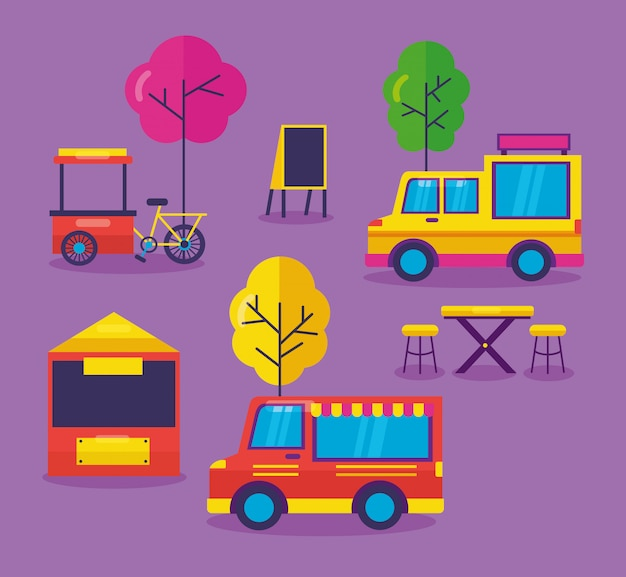 Food trucks festival flat design