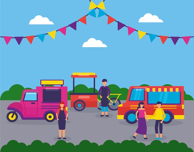 Food trucks festival flat design