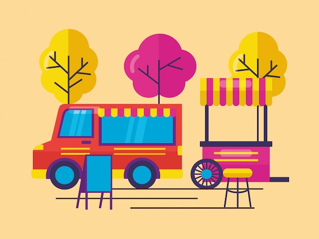 Food trucks in flat style