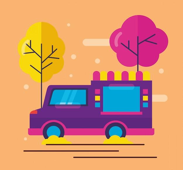 Пищевые грузовики в плоском стиле