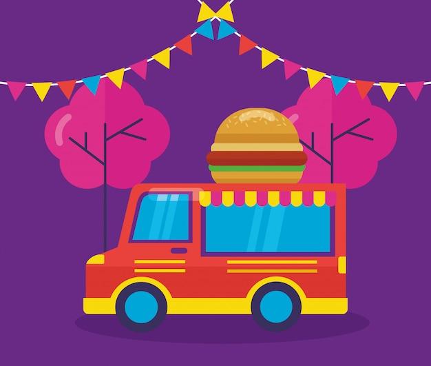 Пищевые грузовики в плоском стиле Бесплатные векторы