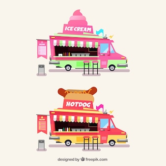 Food trucks wtih ice creams and hot dogs