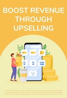 Food upselling poster flat template. internet business, revenue boost, income receiving brochure, booklet one page concept design with cartoon characters. online supermarket flyer, leaflet