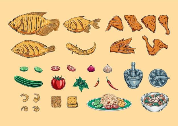 Набор векторных продуктов питания рыба и курица