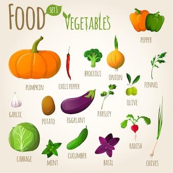 Food vegetables set