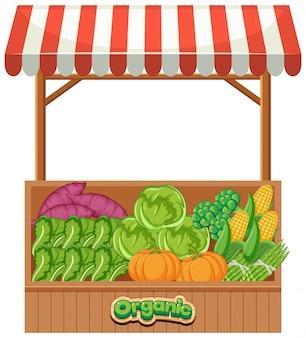 Venditore di alimenti pieno di verdure biologiche fresche