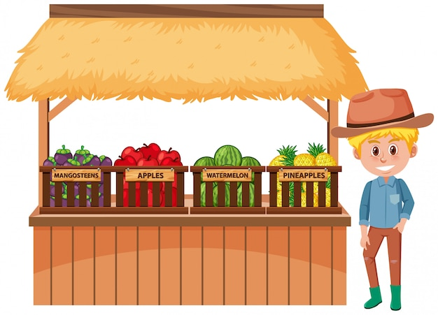 Food vendor with fruits and farmer isolated