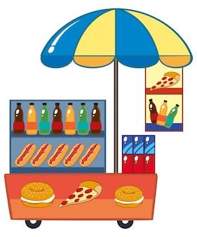 Food vendor with hotdog and drinks