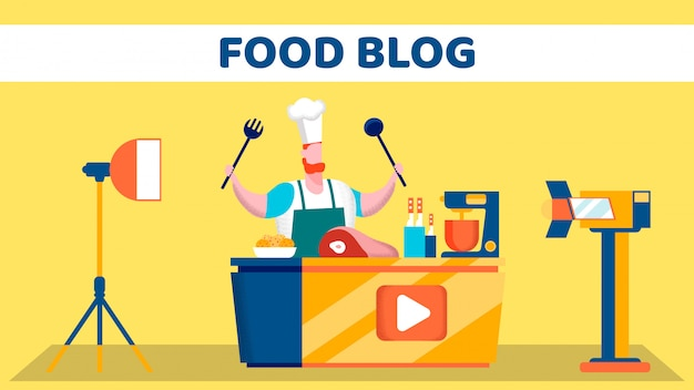 Food video blog shooting stage flat illustration