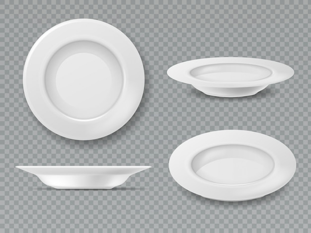 Food white plate. empty plate top view dish bowl side view kitchen breakfast ceramic cooking porcelain isolated set