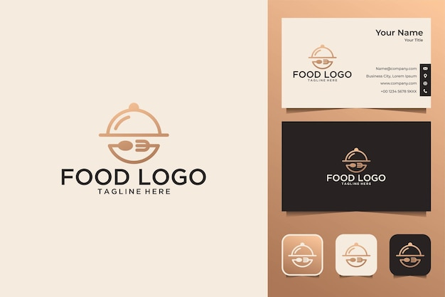 Food with fork and spoon logo design and business card