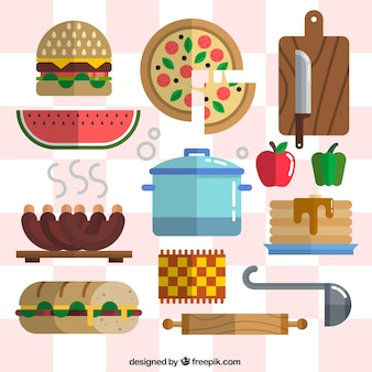 Food with kitchen tools in flat style