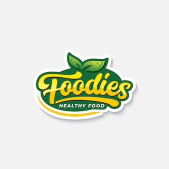 건강 식품을위한 미식가 타이포그래피 로고 또는 라벨