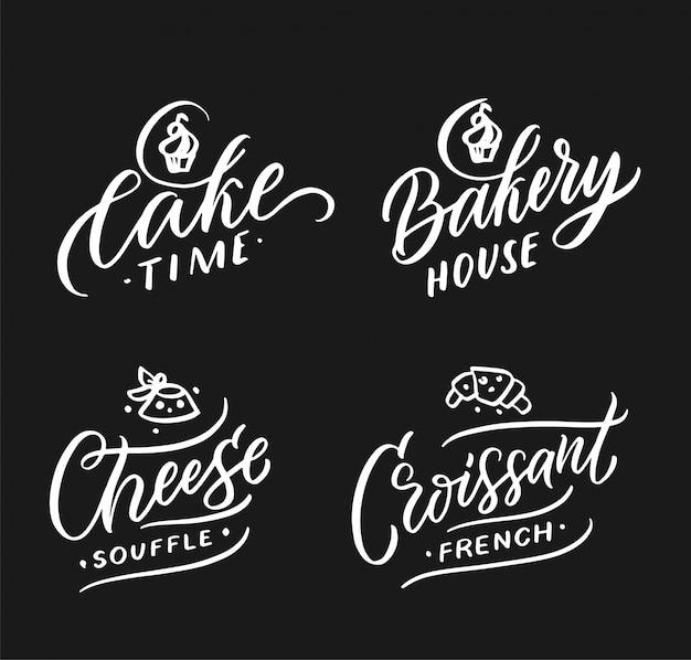 食べ物や飲み物のロゴコレクション。モダンな手作りバッジ、エンブレム、ラベル、ケーキ、パン屋さん、チーズ、クロワッサンの要素のセット。ベクトルイラスト。