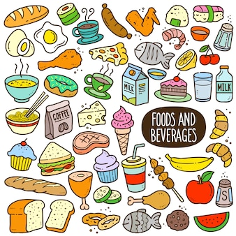 Foods and beverages cartoon color illustration