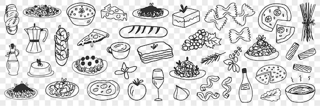 Foods and drinks doodle set. collection of hand drawn edible and tasty bread cakes fruits pizza soup olive oil and drinks in glass and pot isolated on transparent background