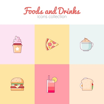 Foods and drinks icons collection