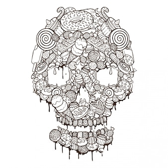 Foods set skull illustration outline